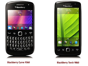 Blackberry Torch 9860 And Blackberry Curve 9360