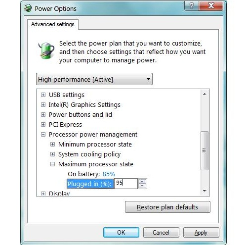 How to prevent laptops from overheating with power option settings?
