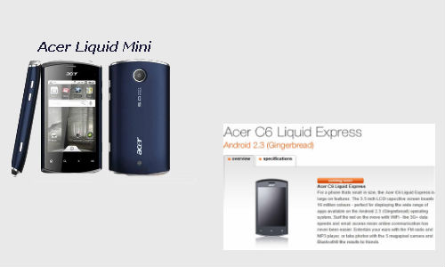 Smartphones from Acer: Acer C6 Liquid Express and the Acer Liquid Mini E310