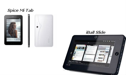 Compared : Spice Mi tab, Spice iBall Slide Android Tablet PCs