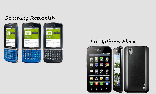 LG Optimus Black and Samsung Replenish smartphones compared
