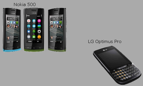 The LG Optimus Pro & the Nokia 500 android smartphones