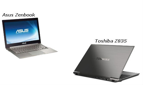 The Toshiba Portege Z835 & the Asus Zenbook UX31 ultrabooks
