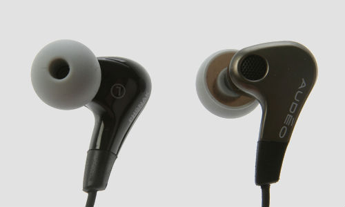 An in-ear Phonak PFE 232 headphone with remote control