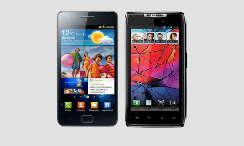 Samsung Galaxy S2 and Motorola Razr XT910 smartphones compared