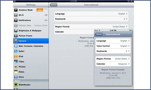How to change keyboard input language in iOS devices?
