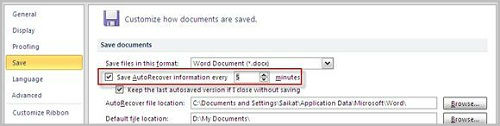 How to recover MS Words 2010 document?