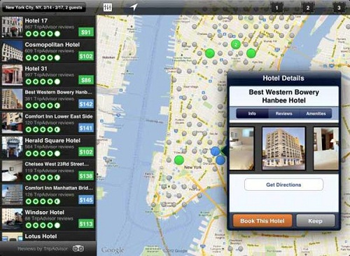 How to search for best hotels around with Hipmunk app?