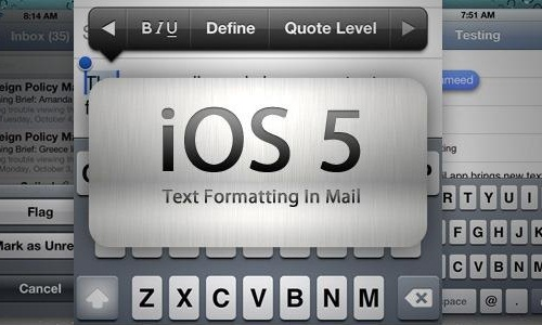 How to use rich text formatting in mail app in iOS 5?