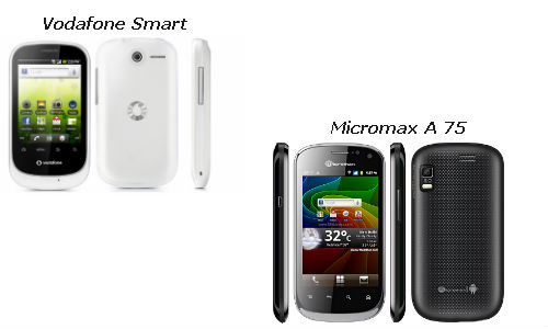 Vodafone Smart and Micromax A75 smartphones compared