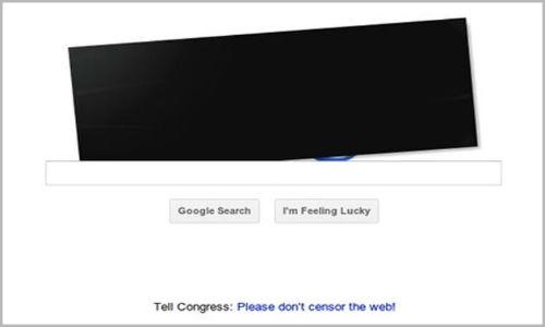 Google's logo censored in the protest