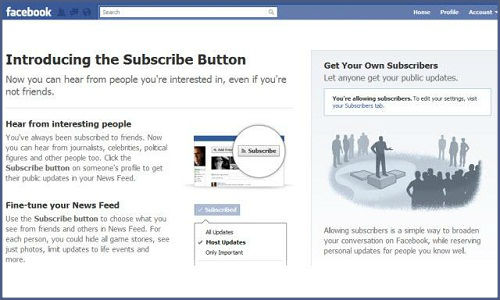 How to add subscribe option to Facebook profile?