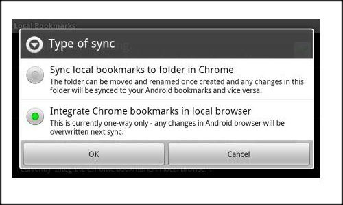 How to integrate Google Chrome bookmarks to Android devices?