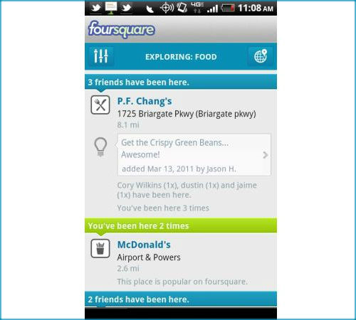 How to use Foursquare explore option to stay informed on new places?