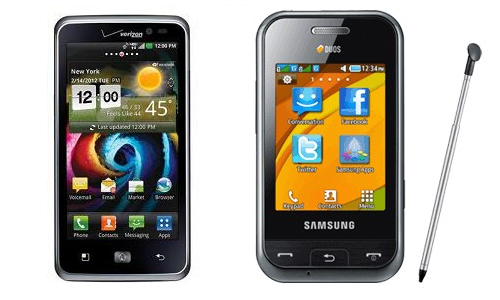 LG Spectrum and Samsung Champ Duos Mobilephones