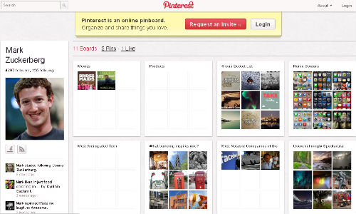 Mark Zuckerberg Facebook's CEO joins Pinterest