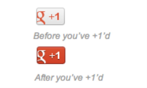 Google +1 button turns red