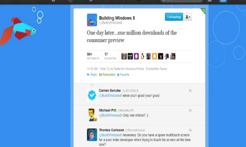 Windows 8 consumer preview downloaded 1 million times on first day