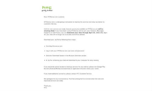 HTC shuts down Sense services temporarily