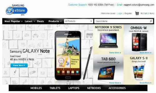 Samsung's online store for tablets, phones