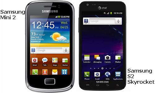 Comparison of Samsung Mini 2 and S2 Skyrocket