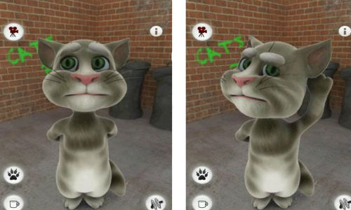 The Talking Tom Cat App mimics, repeats everything you say
