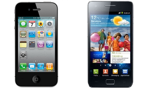 Comparison of iPhone 4S and Samsung Galaxy S2 smartphones
