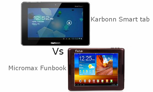Comparison of Karbonn Smart tab and Micromax Funbook
