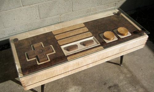 A wooden NES Gaming controller from Mahogany