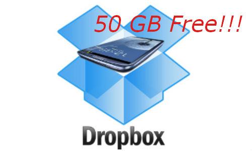 50 GB free Dropbox storage with Samsung Galaxy S3