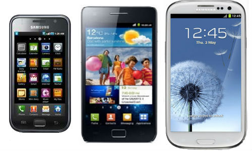 Comparison of Samsung Galaxy S3, S2 and S smartphones