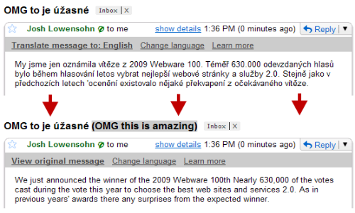 Gmail can translate emails