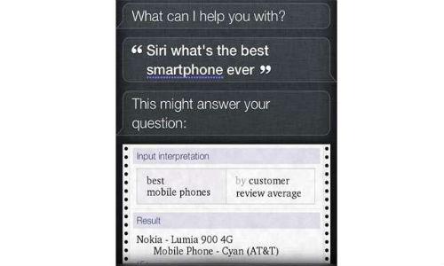 Siri: Nokia Lumia 900 is the best smartphone