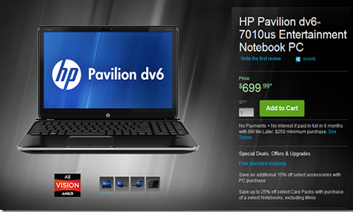 HP Pavilion DV6 laptop available with AMD Trinity Processor