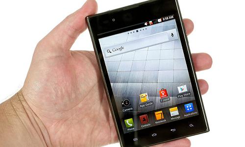 LG Optimus Vu smartphone with a stylus