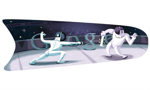 Google doodles London 2012 Fencing