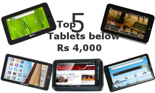 Top 5 Tablets below Rs 4,000