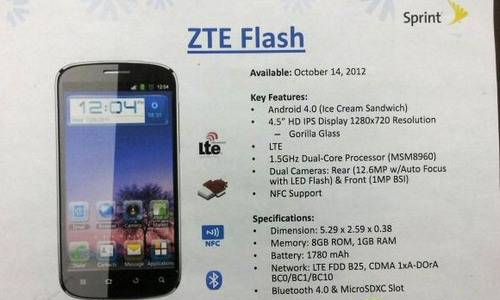 ZTE to unveil Flash Smartphone on Sprint in October