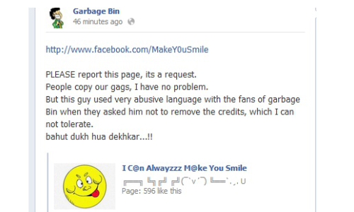 Facebook India Gag Creator Garbage Bin: Victim of Plagiarism!