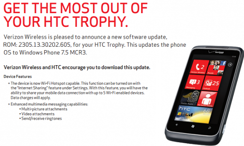 Verizon HTC Trophy to get Windows Tango 7.5 update
