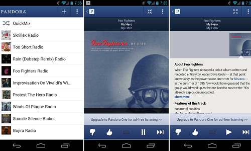 Pandora Revamps Android App with a Bold UI, 'Song Lyrics' Feature And More