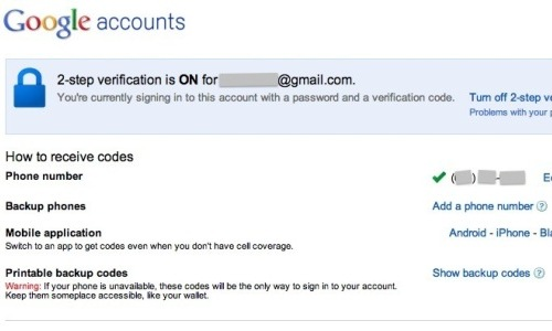 How to set up Google's two step verification?