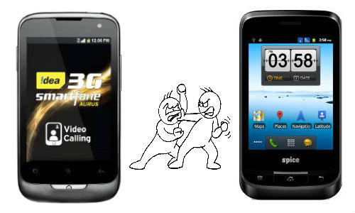 Idea Aurus vs Spice Mi-320: 3G Dual SIM Budget Smartphone Fight