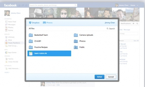 Facebook Integrates Dropbox for Sharing Large Size Files