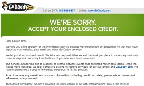 GoDaddy Apologizes for Outage, Gives Customers One Month Credits