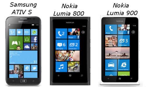 Samsung ATIV S Vs Nokia Lumia 800 Vs Nokia Lumia 900: A Clash Between the Windows Phone Devices