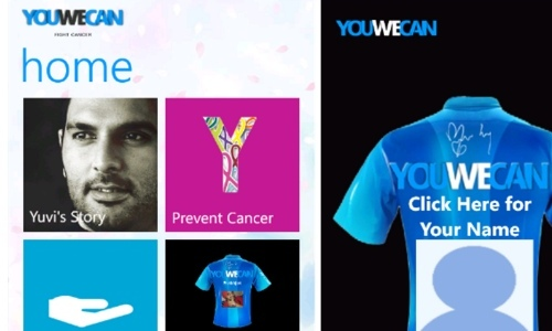 YouWeCan Windows Phone App: Yuvraj Singh Initiative to Fight Against Cancer