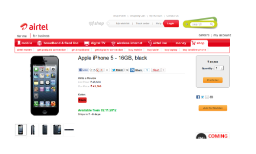 iPhone 5 India Release: Airtel Lists 16GB Black Variant up for Pre Order at Rs 45,500