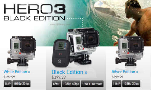 GoPro Announces Hero3 Black Edition Action Cameras