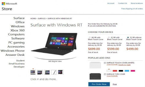 Microsoft Surface Full Specs and Prices Released